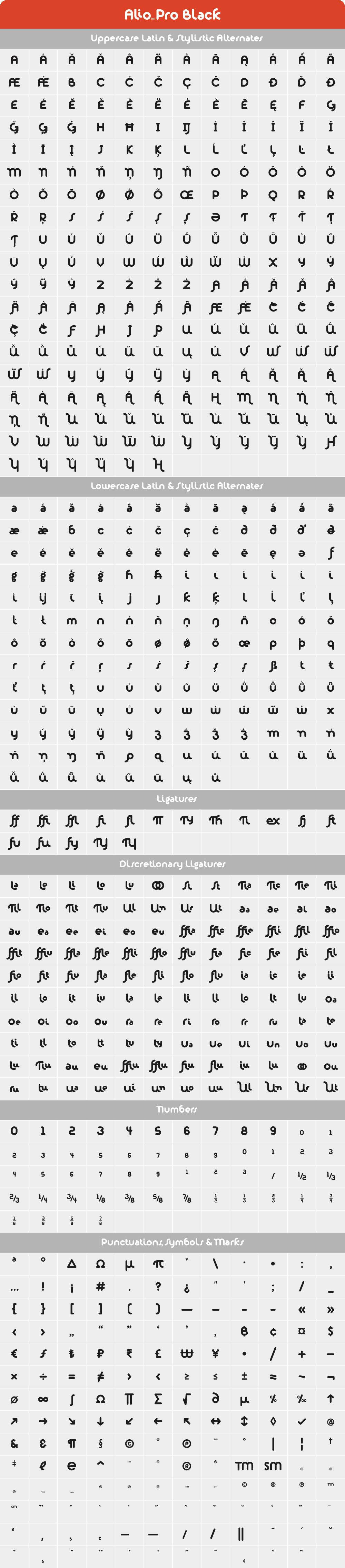Alio Pro Black Glyph Set