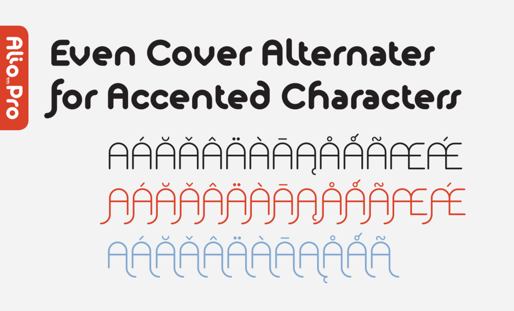 Even accented characters got stylistic alternates
