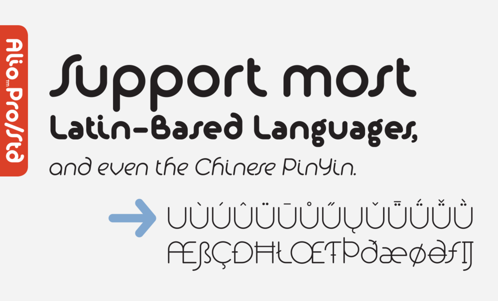 Alio supports most Latin-based languages and even Chinese PinYin