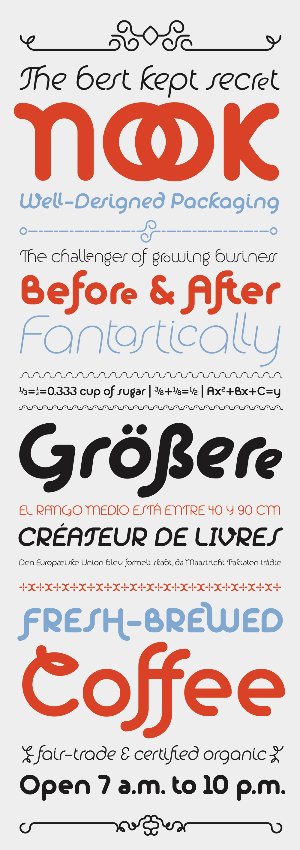 The above specimen was typeset entirely within one text box using the combination of Alio Pro and Alio Decor.