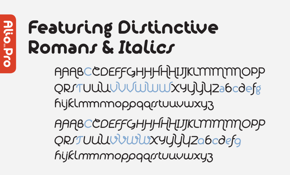 Features several distinct Roman & Italic characters and alternates