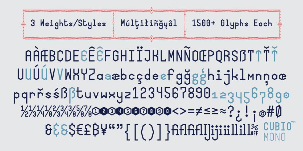 Cubio Mono Font Samples