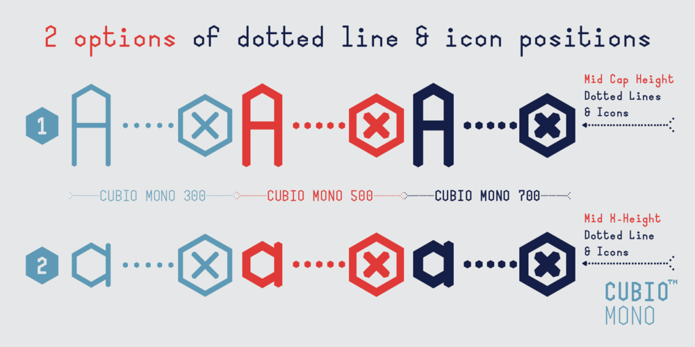 Cubio Mono features two positions of dotted lines and icons