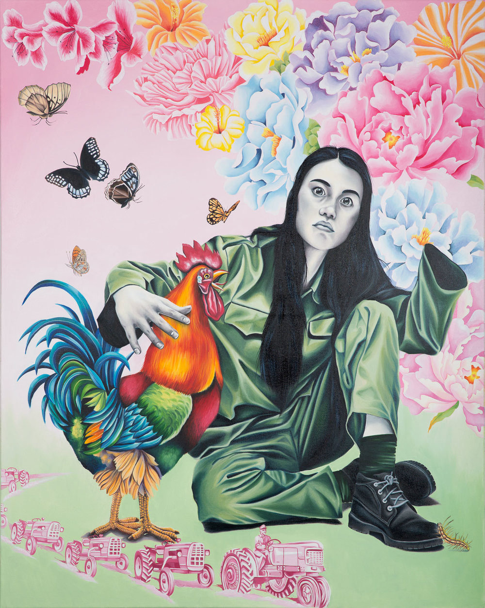 """Ah! Another Big Cockerel!"" 2015 Oil on canvas 60"" x 48"""