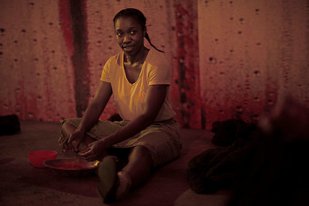 Yvette Boakye as Ruhab in  Girls . Production image courtesy of Talawa Theatre Company.
