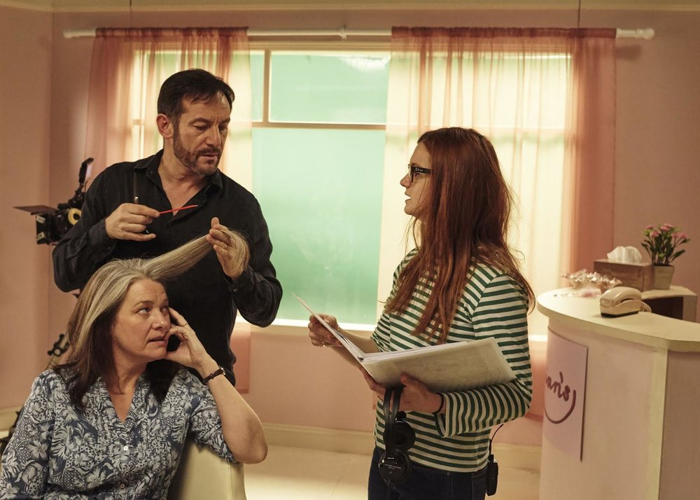 Kerry Fox, Jason Isaacs and Bonnie Wright on the set of  Medusa's Ankles . Photo by Jack Whitehead