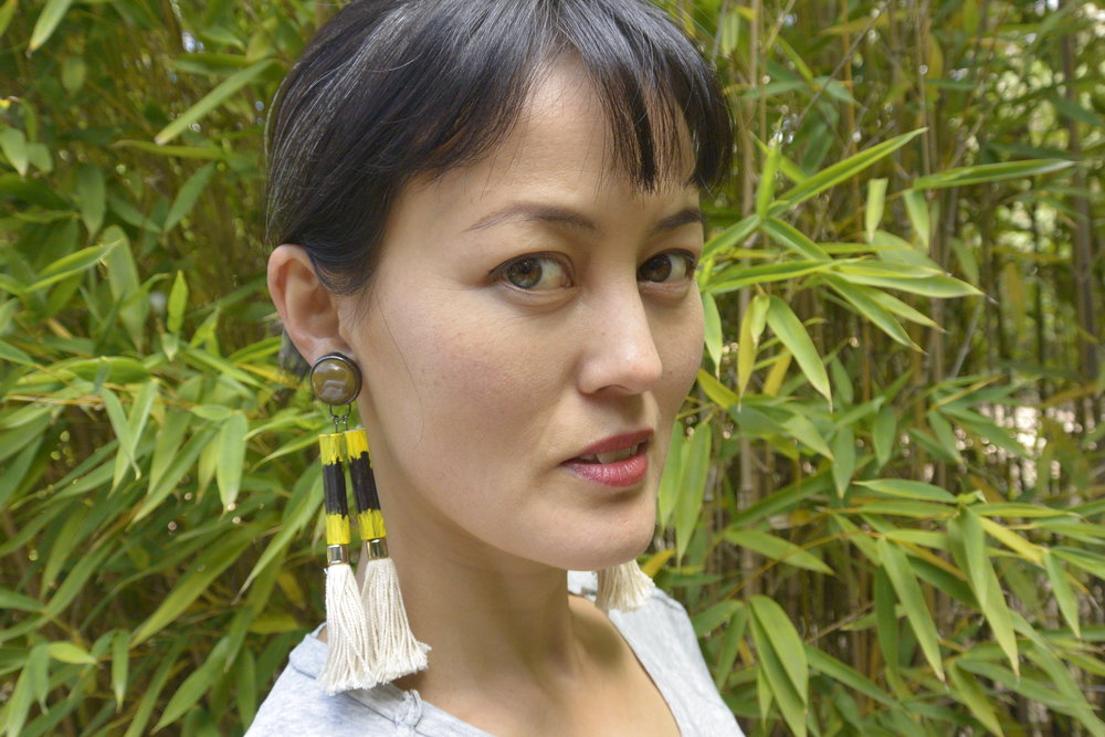 Leeyong made these earrings herself out of bamboo from her actual garden. True story.