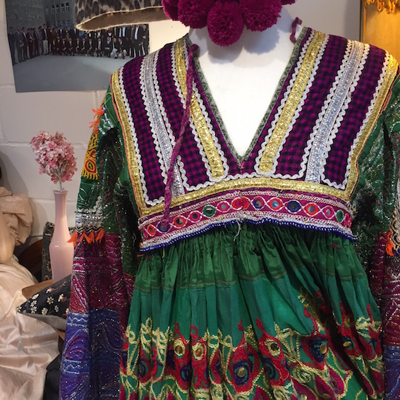 Traditional Afghan wedding dress, made from patchworked antique fabrics