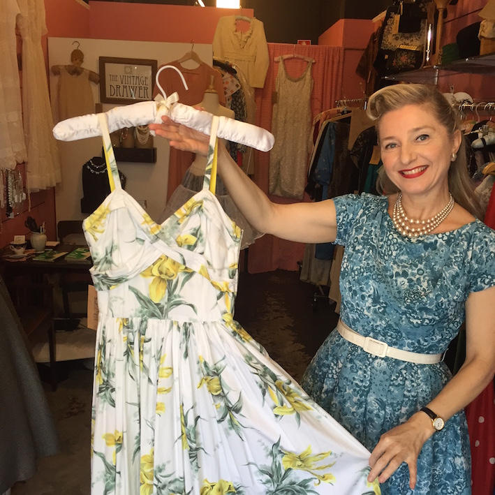 Deborah Thomson with one of her 1950s dresses