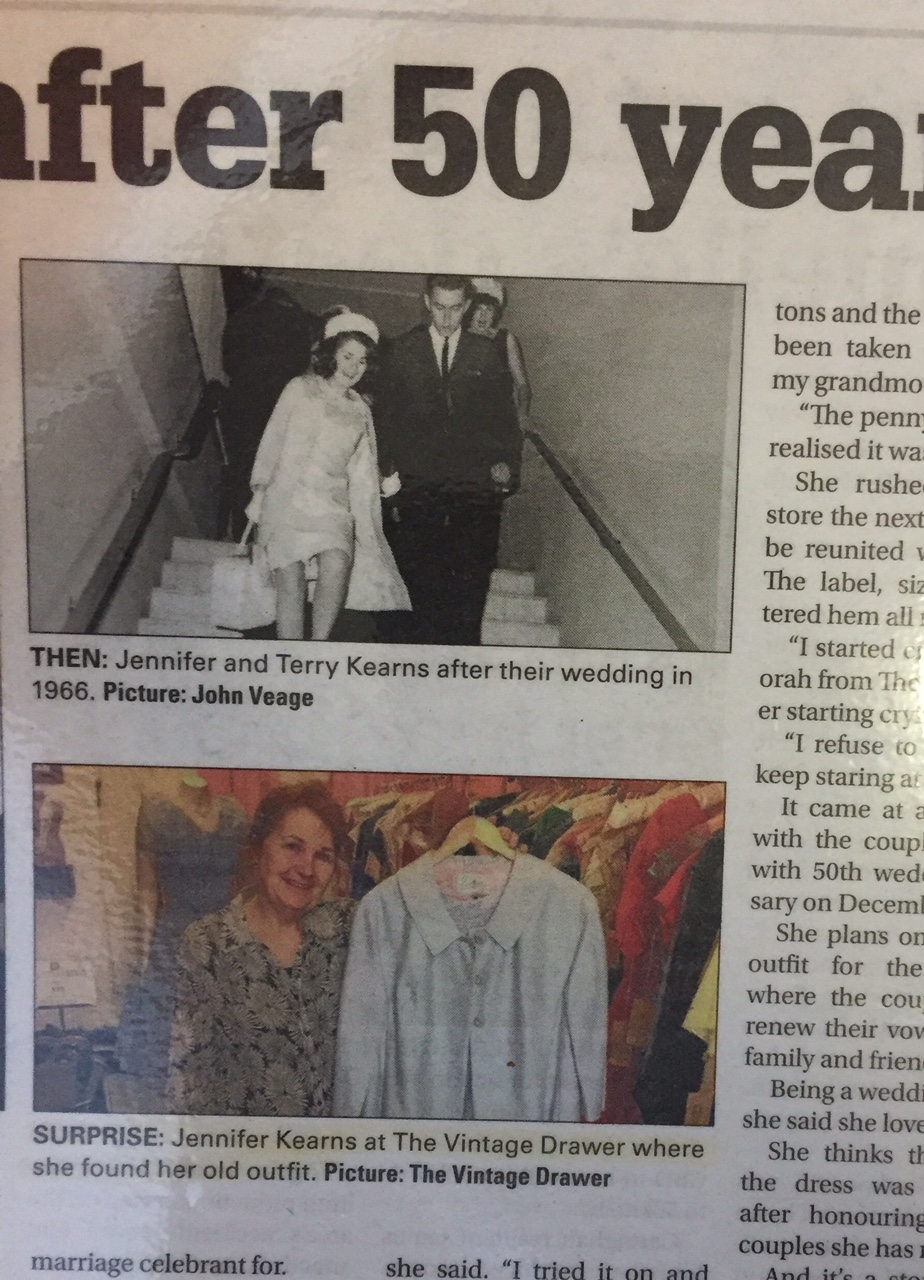 Jennifer Kearns on her wedding day, and 50 years on, made it into print in her local paper
