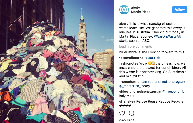 Producers of an upcoming TV series on waste dumped this clothing mountain in Sydney's Martin Place earlier this year to demonstrate the scale of our disposable fashion habit