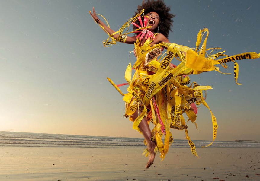 Made by Marina DeBris from trash that washed up on the beach. Modeled by Nana Ghana and photo by  ©  Kelly Fajack
