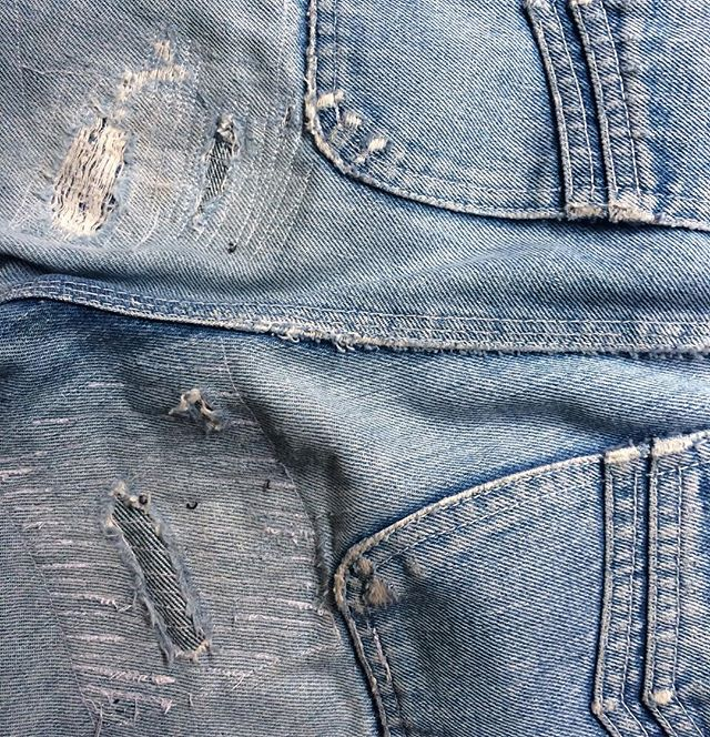 Rachel's handiwork - she's jeans genius at extending the life of her denim