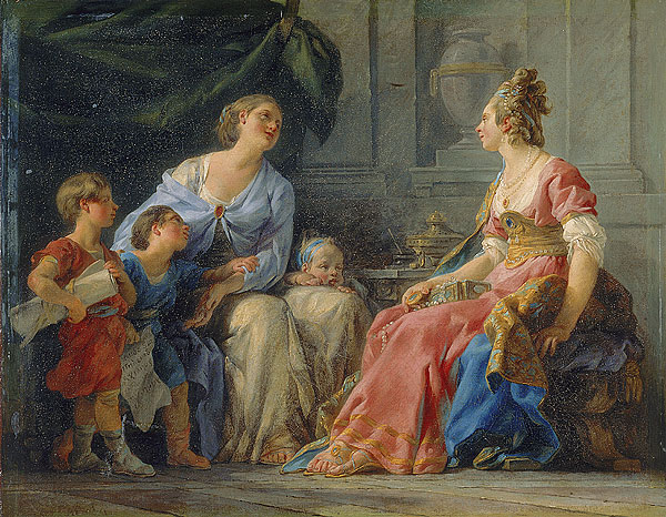 Cornelia, mother of the  Gracchi  , by  Noël Hallé  (1779,  Musée Fabre )