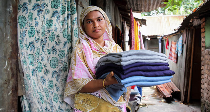 This is Anju, a garment worker in Bangladesh.