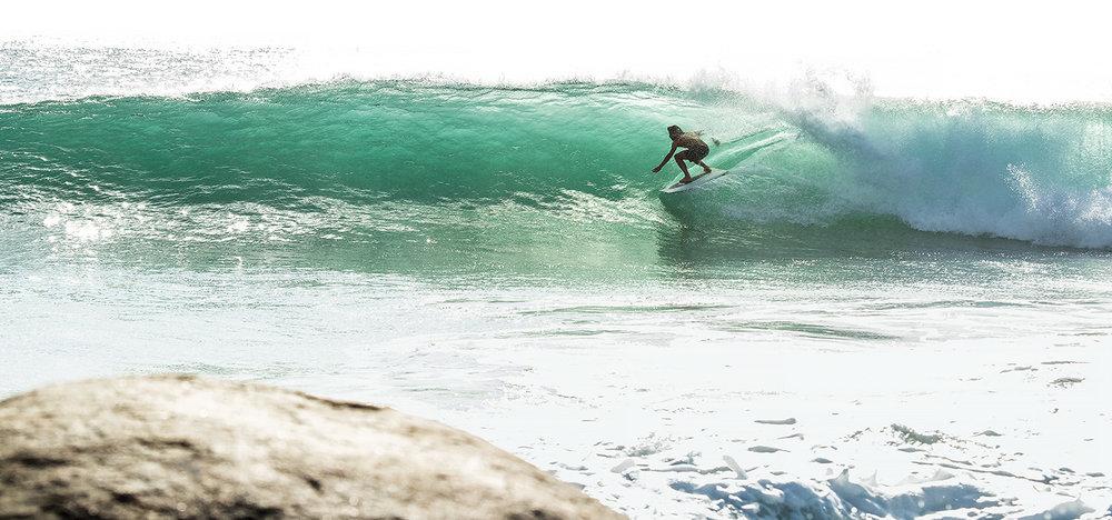 Dave Rastovich rides a wave...