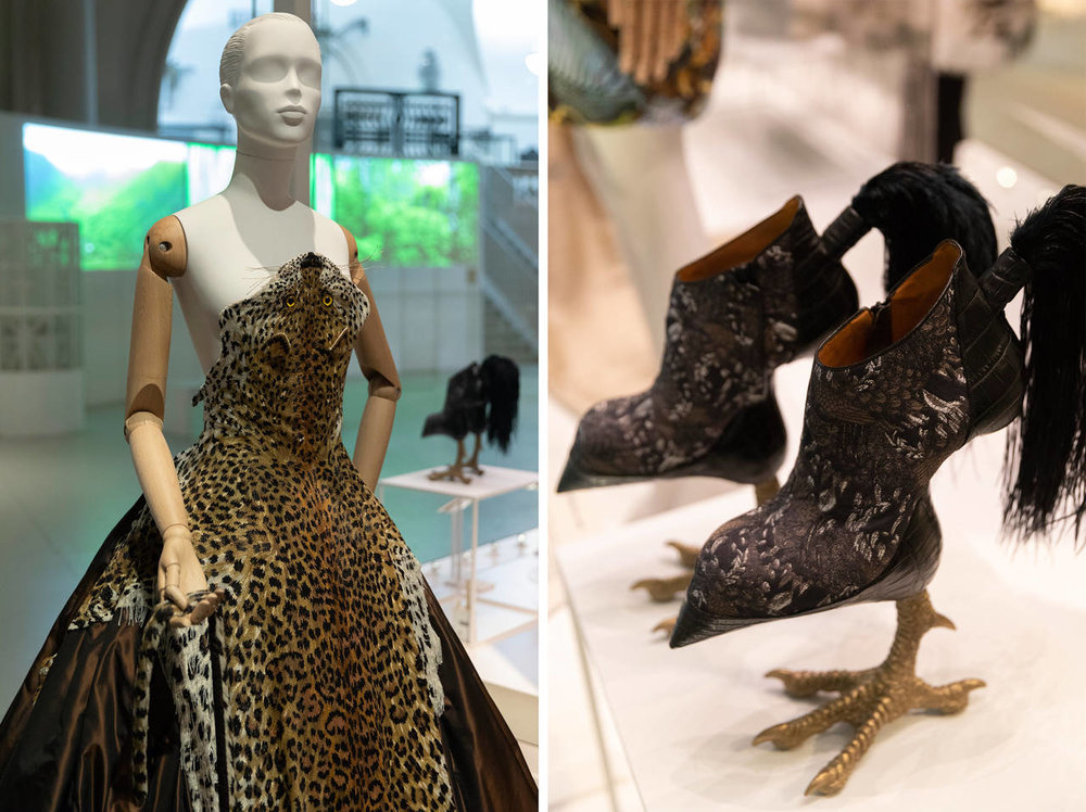Above left:  No leopard was harmed in the making of thisdress -  Jean Paul Gaultier's design is actually made from beads.  Right,  Masaya Kushino's 'Bird Watched' heels © Victoria and Albert Museum, London.