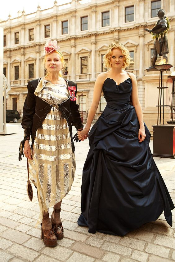 Vivienne Westwood and Lily Cole attend the 'A Celebration of the Arts' held at the Royal Academy of Arts, London, 2012.