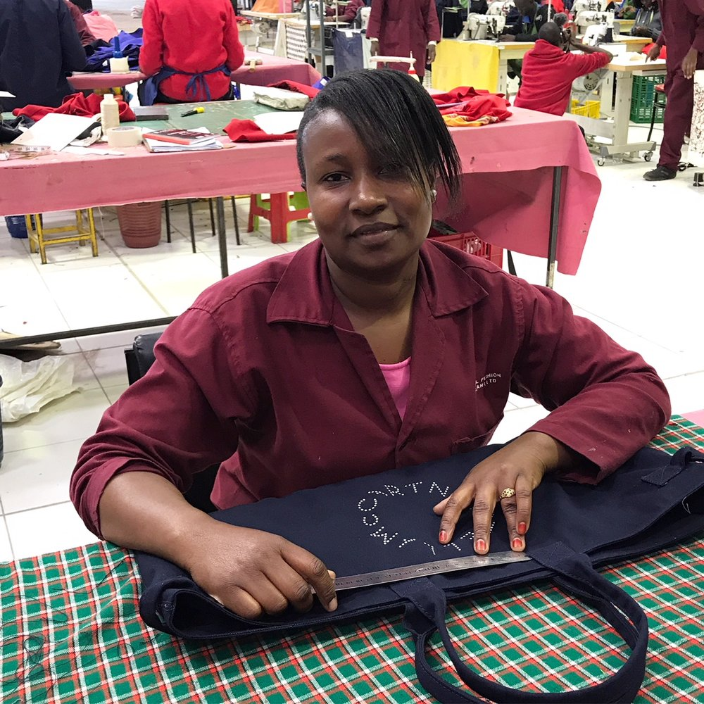 Joan working on a Stella McCartney bag at Athi River. Photograph Clare Press