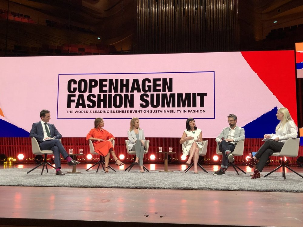 Clare moderating a panel at the 2018 Copenhagen Fashion Summit