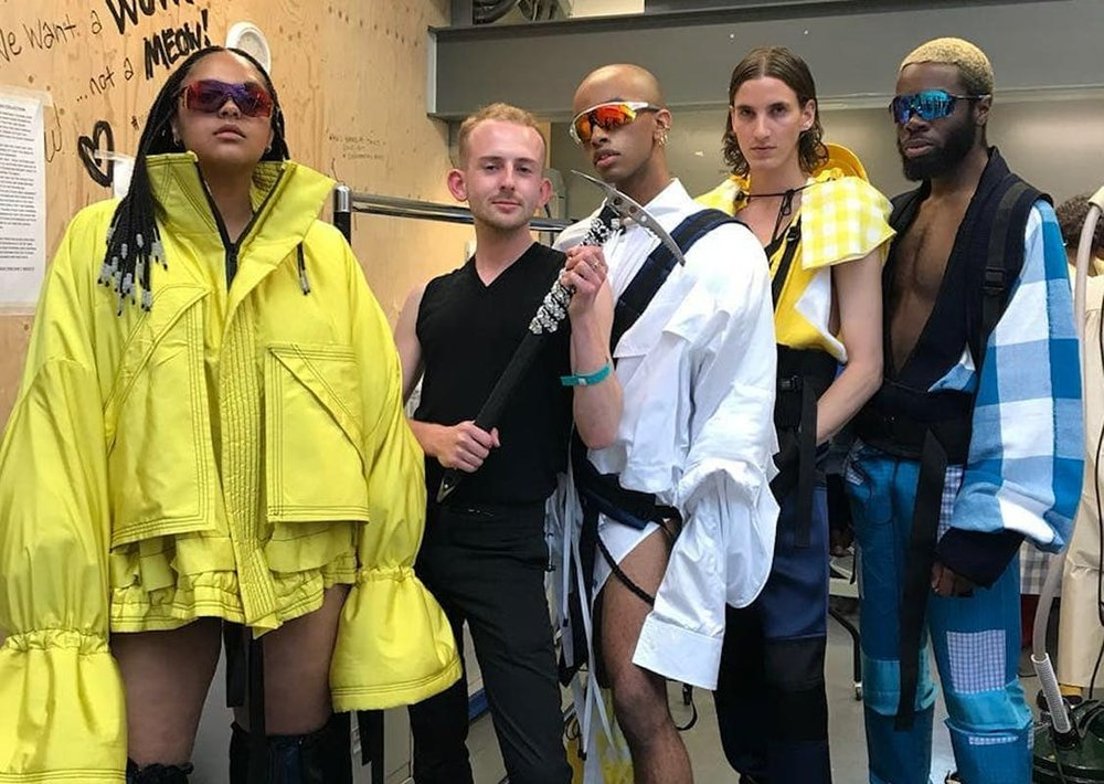 "Patrick McDowell's BA grad collection was inspired by ""a climbing trip my Dad completed to the summit of Mont Blanc (when I was 6 years old) - a commentary on the relationship a gay son has with his father, claiming the hyper-masculine and queering it."""