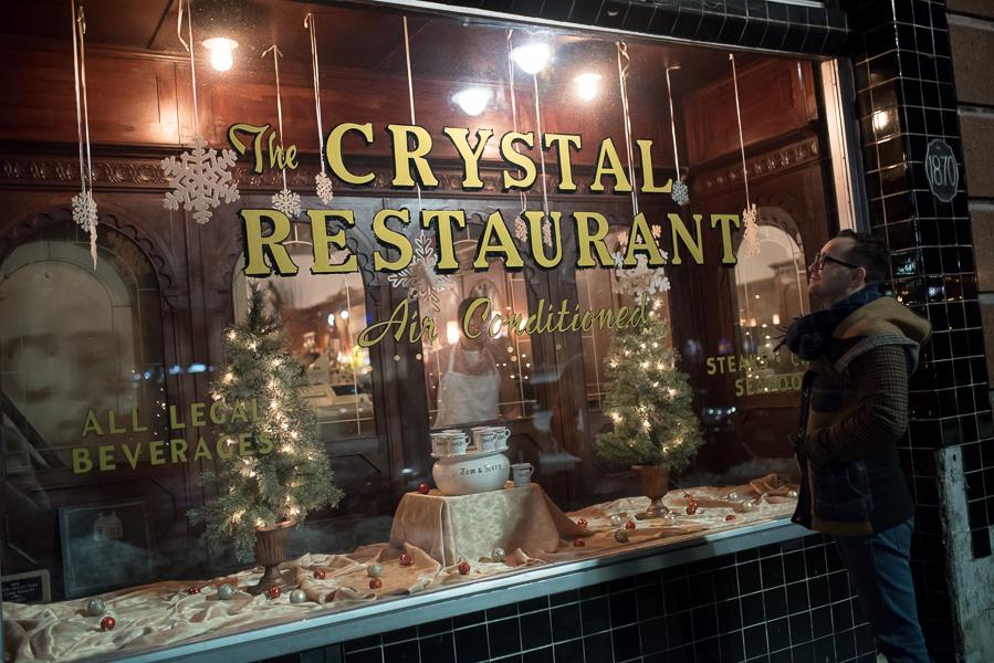 Joe, admiring the charming window display at The Crystal. Photo : Michelle Kinney