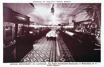 Vintage photograph of The Crystal Restaurant's dining room and bar area.