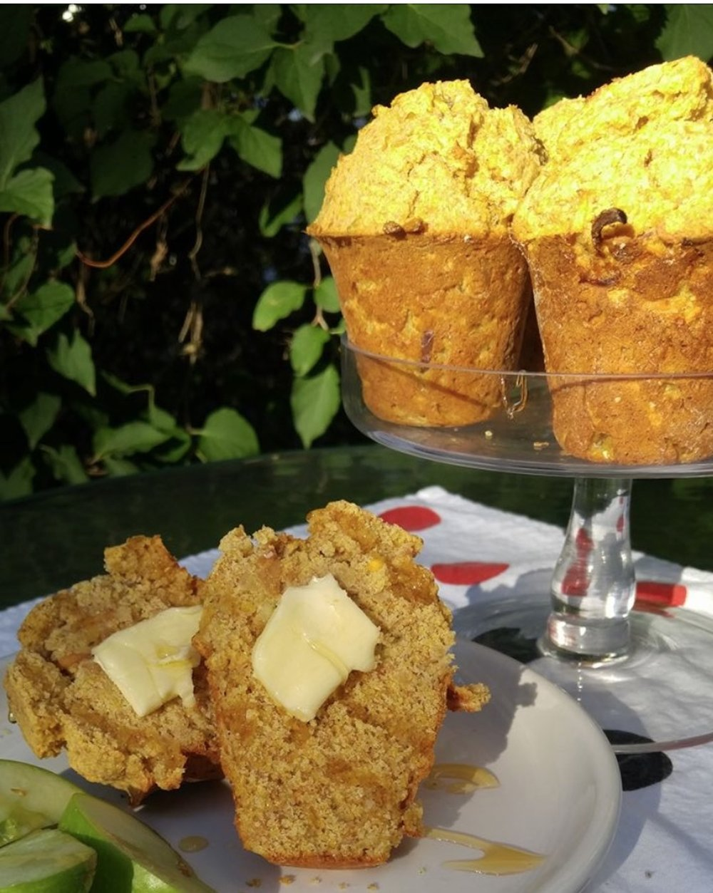"""Rey made these gorgeous apple corn muffins with our   """"MACKINAW""""heirloom Turkey Red flour."""