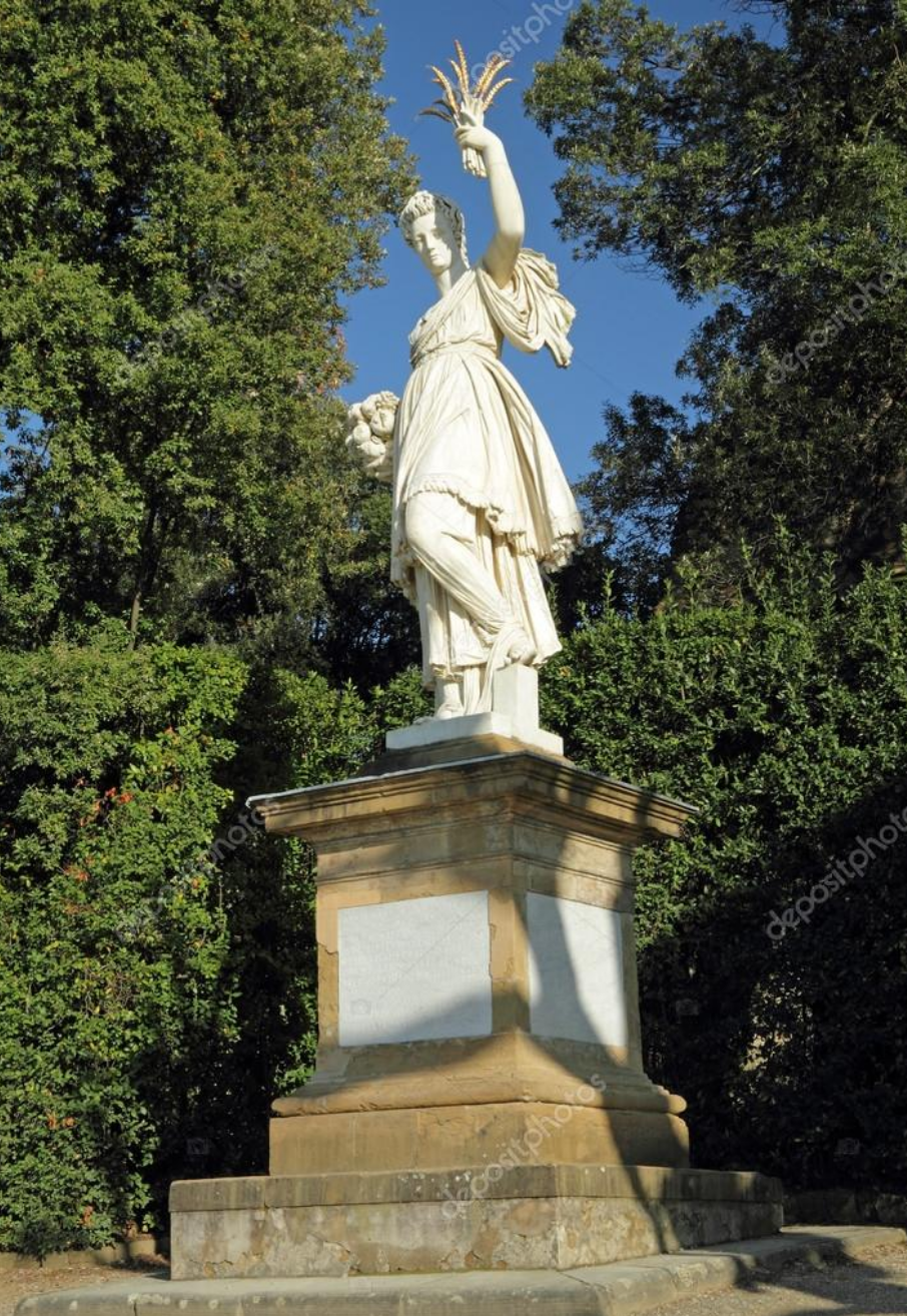 This statue of Ceres holding a sheaf of wheat is in the Boboli gardens in Florence, Italy.