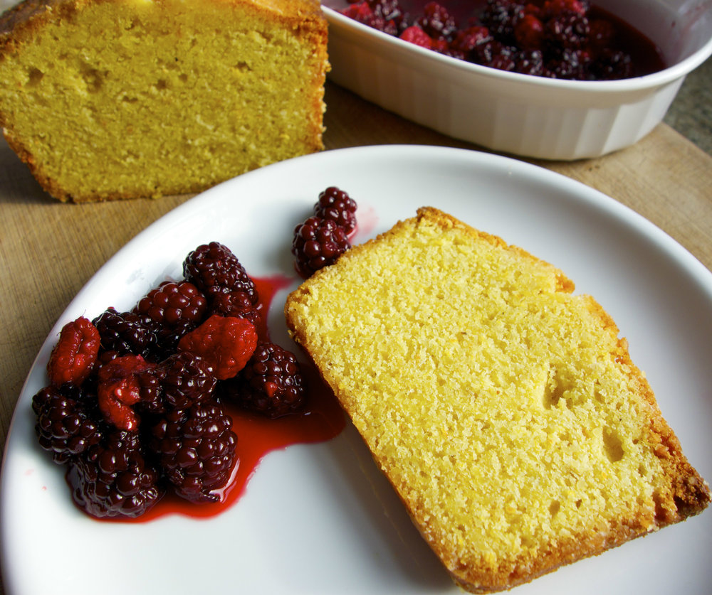 """Most people buy cornmeal for cornbread, and there's nothing wrong with that! But there are many desserts you can make with the delicious cornmeal we stone-grind from our organic white, yellow, and red corn. For either of these two recipes for """"polenta poundcake,"""" we recommend using the finer """"cornmeal"""" grind, but you may also use the coarser """"polenta"""" grind for a more sandy texture. (Photo by Terra Brockman)"""