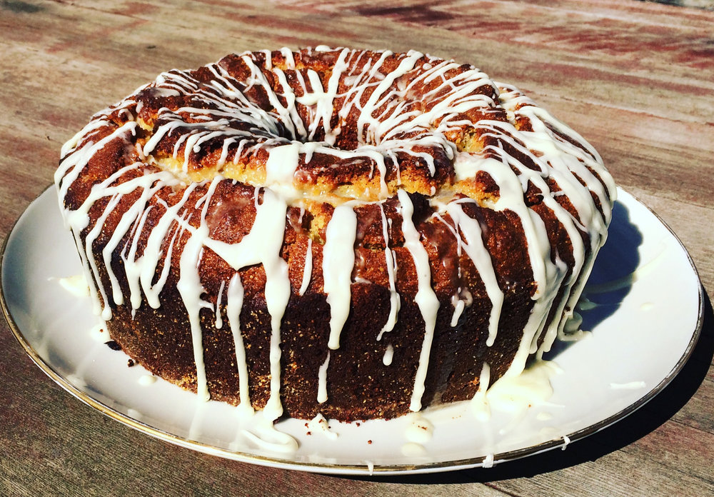 This cake is not only beautiful, it is delicious and provides full nutrition, with eggs, butter, nuts (almond flour), cornmeal, and citrus! (Photo by Terra Brockman)