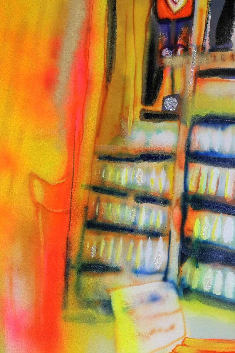 "Detail of   Home Depot    Oil, Airbrush, Spray Paint, Ink, House Paint, Copper Leaf  64"" x 118""  2016"
