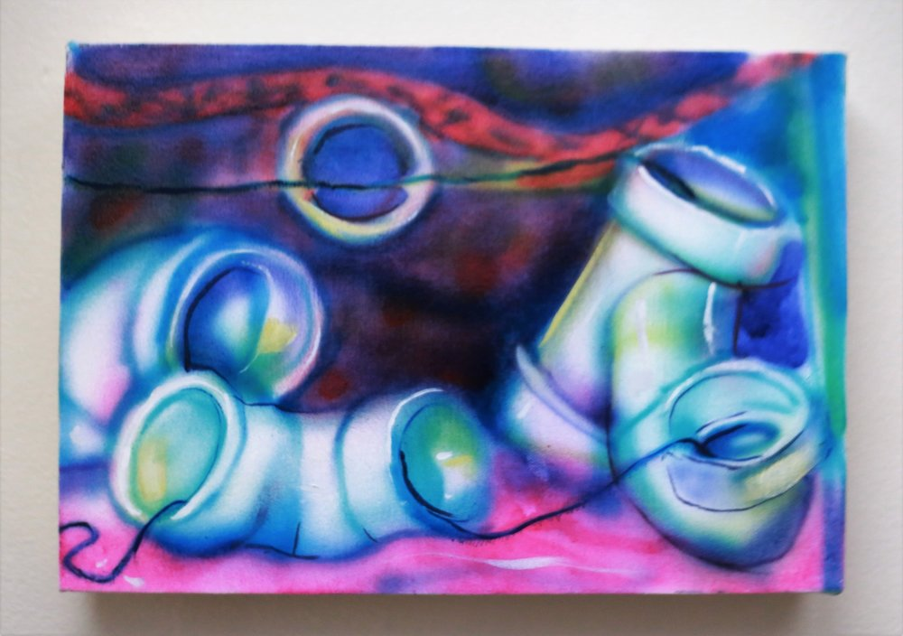 "Pipes II    Airbrush  10"" x 14""  2016"