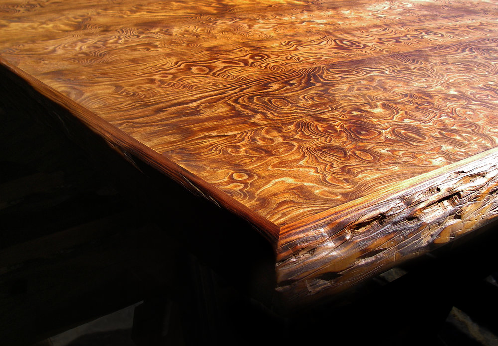 Curly Heart Pine Live Edge Bartop