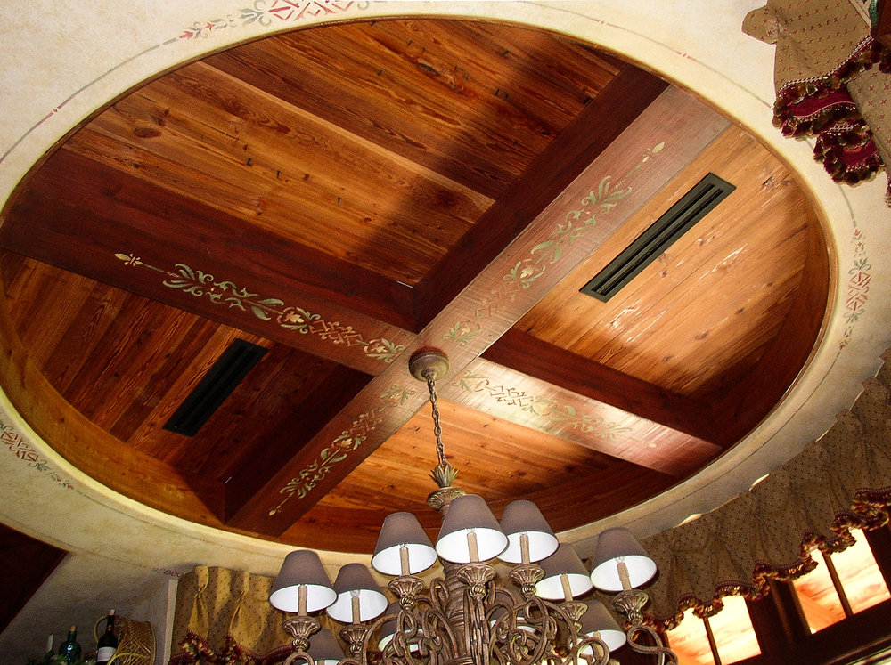 Reclaimed Heart Pine Ceiling & Box Beams