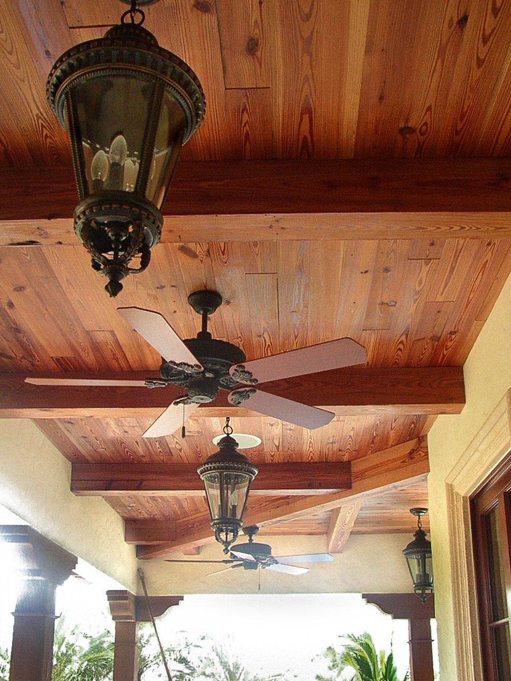 Longleaf Heart Pine Ceiling Beams and Paneling