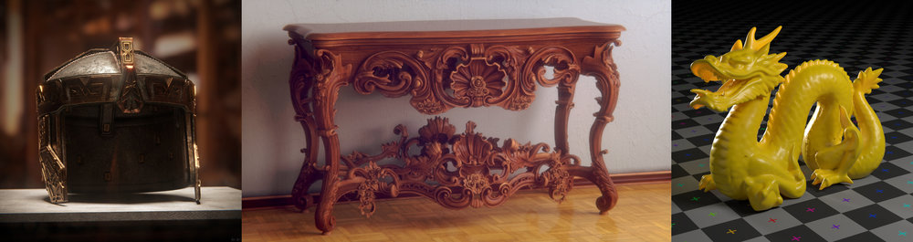 Table model by 1DInc, dragon by Stanford University
