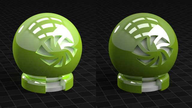 left:  Add Shader combining Diffuse and Glossy (don't do this, energy is not conserved);  right:  Mix Shader, physically correct (do this)