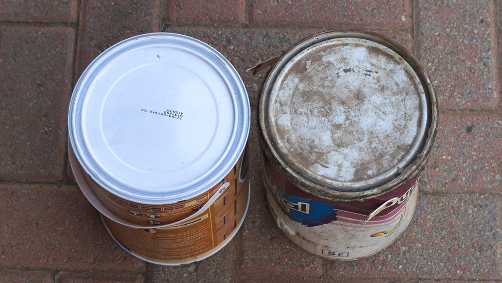 Clean, new paint can vs. old dirty one