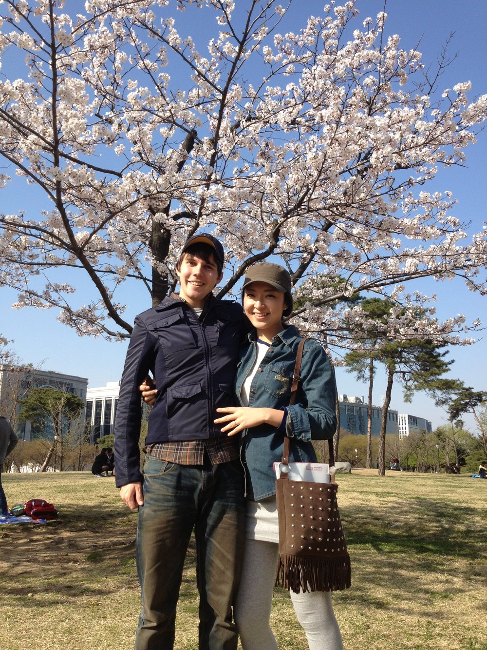 My wife and I at a parklands in Seoul, Korea