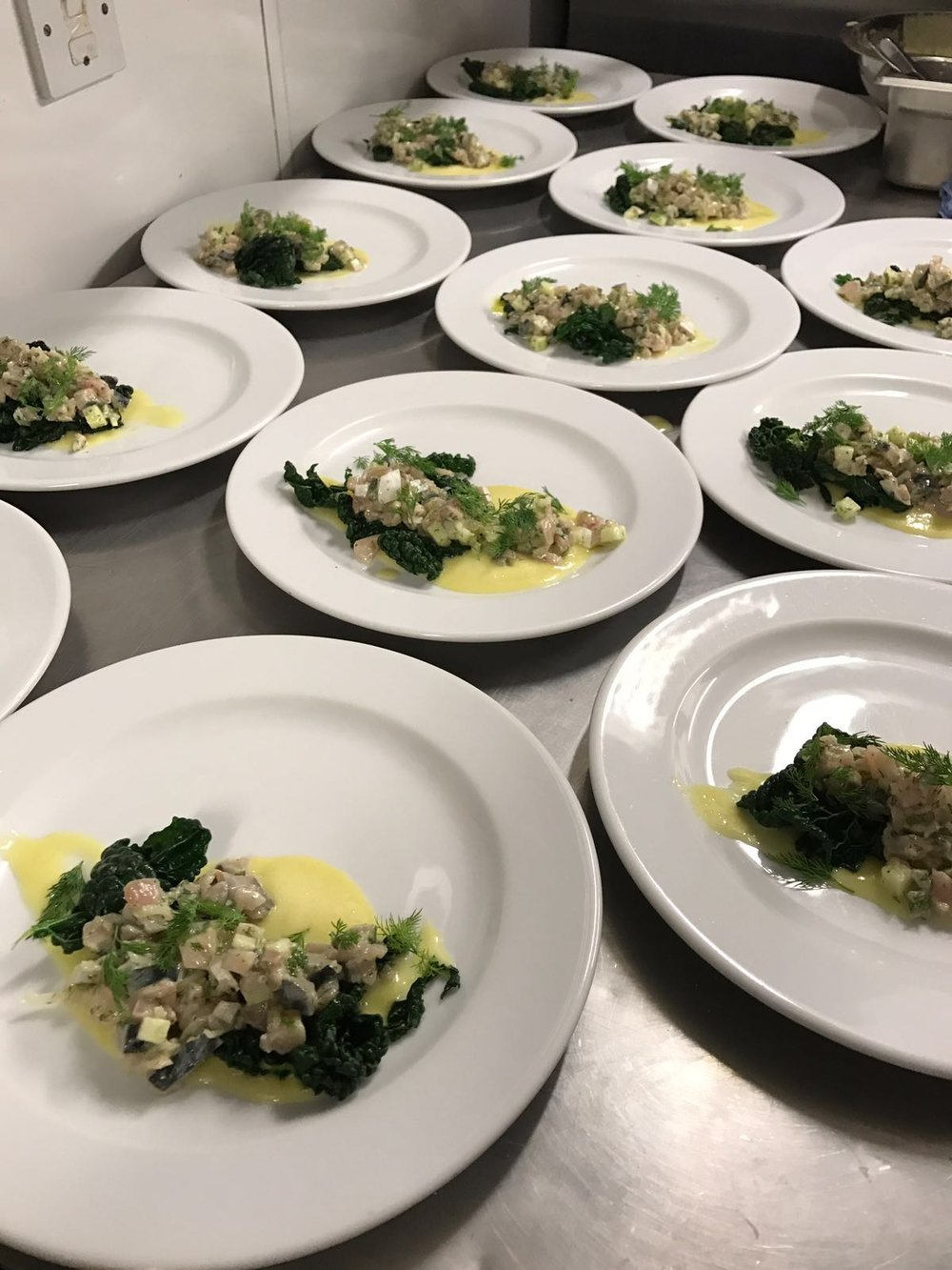 Mackerel tartare in cavolo nero, on lemon pure'