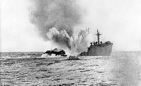 Merchant ship torpedoed by German U-boat