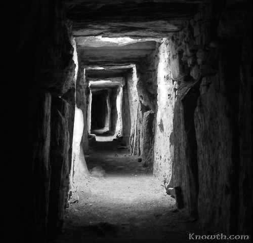 Ancient Irish tomb interior chambers