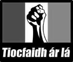 IRA flag with fist Tiocfaidh ar la