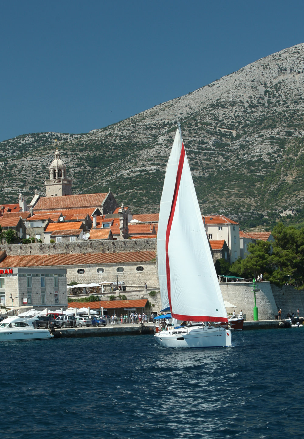 Under sail off Korcula