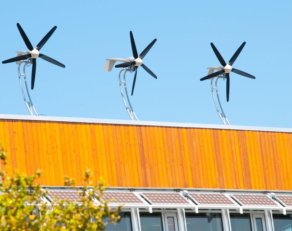 Roof-mounted wind turbines