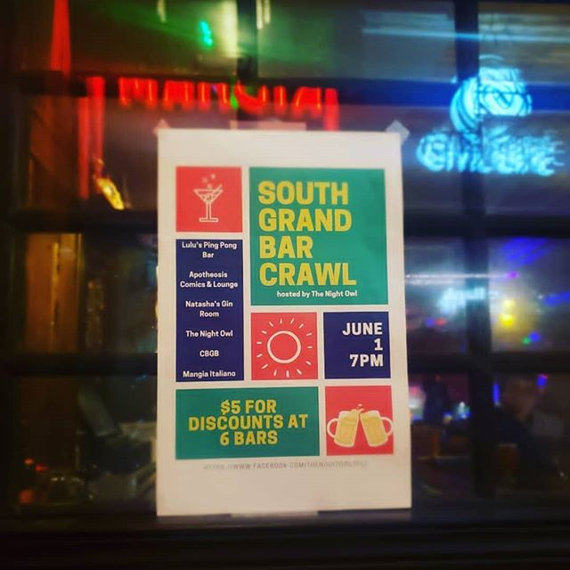 June 1st. Come join the South Grand Bar Crawl for only $5.  https://www.eventbrite.com/e/2019-south-grand-bar-crawl-tickets-58695784672