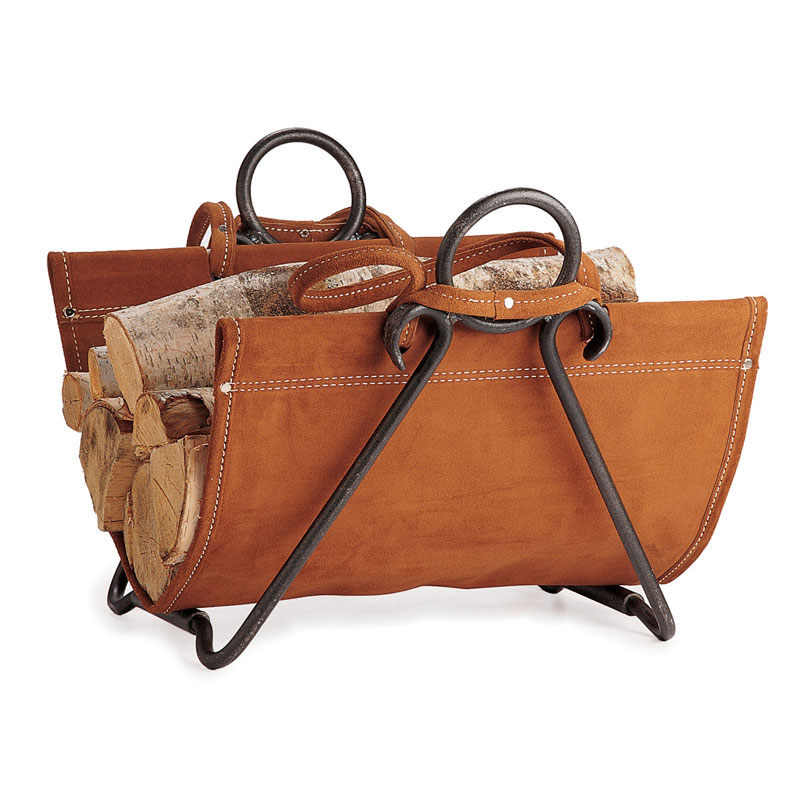 Pilgrim forged iron suede leather carrier