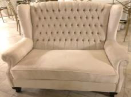 Ivory Tufted Loveseat