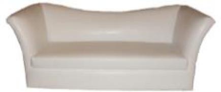 White Leather Sloped Back Sofa
